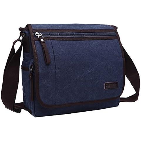 Super moderno tela Messenger Bag borsa a tracolla Laptop Bag computer bag satchel bag Bookbag Zaino Borsa da Lavoro per uomini e donne, Uomo, Blue