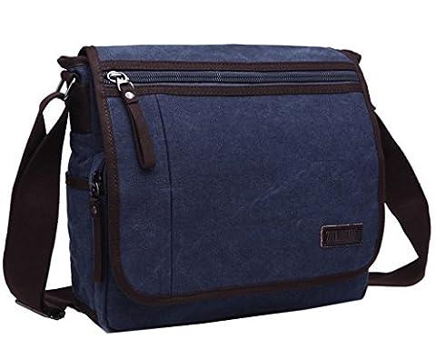 Ultra moderne toile sac à bandoulière sac à bandoulière pour ordinateur portable sac d'ordinateur sac de travail Sacoche pour sac d'école sac pour hommes et femmes, Homme, bleu