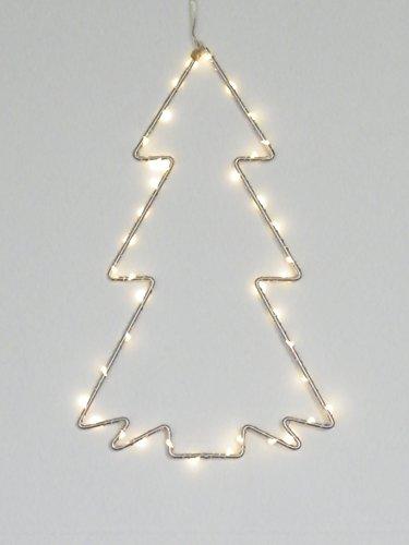 Best Season Silhouette Weihnachtsbaum, 30 warmweisse LEDs, Metall, Silber, 1 x 19 x 30 cm