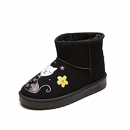 ZHUDJ Scarpe Donna Pu Winter Snow Boots Stivali Tacco Piatto Punta Tonda Per Casual Nero Grigio Black
