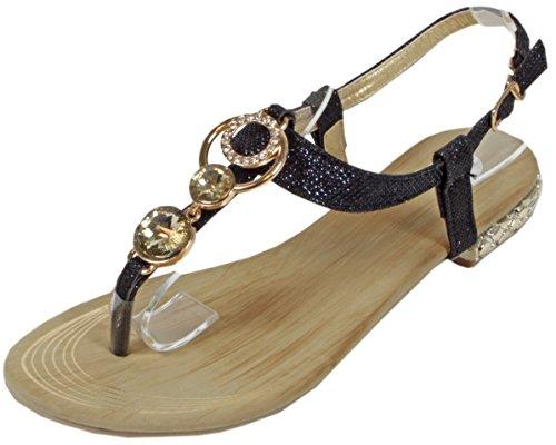 Nonnall - Sandale mit großen kleinen Steinen Zehentrenner Goldene Metall-Applikationen LederOptik Damen Sommer Schuhe 36 37 38 39 40 41