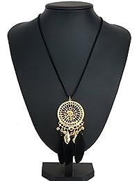 lanitta/Bijoux Mujer, Niña/collar colgante attrape-rêve Anillo Dorado, Hojas Oro y Perlas Oro, Y negro auténtico plumas. Hecho a mano/Handmade.Idea Regalo Sonora