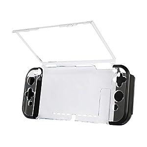 Hama Hardcover Hülle für Nintendo Switch (3-teilig, Cover für Konsole und Joy Con Controller, Stauraum für 4 Spiele, ergonomisch für besseren Grip, Slim Bumper, Schutzhülle) Hard-Case transparent