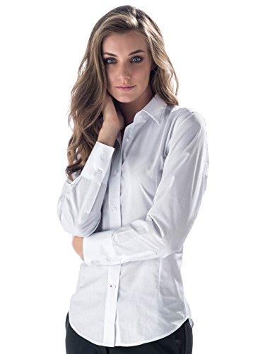 Isacco camicia bianca da donna da sala - bar ideale per bariste e cameriere - marca italiana comodo taschino sul cuore e colletto in tessuto rigido (s)