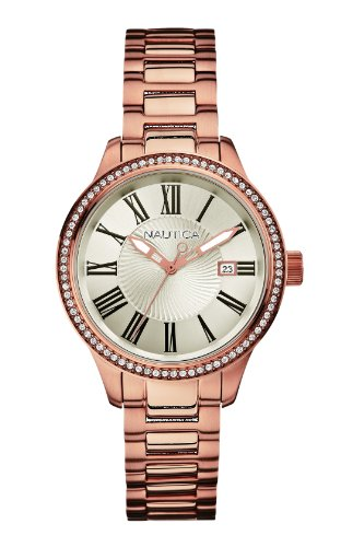 Nautica Women's Quartz Watch A17644M with Metal Strap