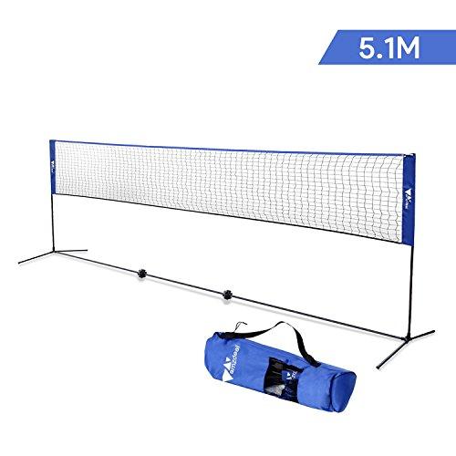 Amzdeal Badmintonnetz 5.1m/4.2m Maschen faltbar Multifunktionsnetz für Badminton oder Tennis (Schwarz/Blau)