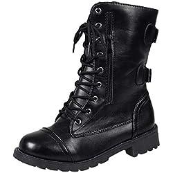 QUICKLYLY Botas de Mujer,Botines para Adulto,Zapatos Otoño/Invierno 2018,Calzado De Vaquero Romano De Cremallera De Media Pierna Martim(Negro,41CN)