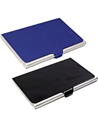 Stealodeal Black And Blue Stainless Steel |Combo Of 2| Card Holder