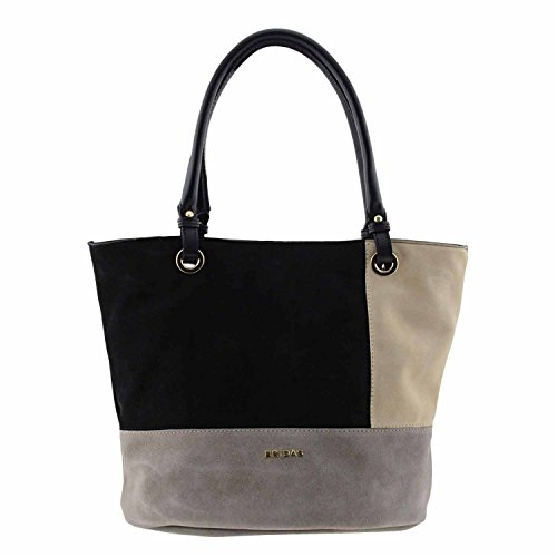 borsa in pelle tricolore spaccato due manici Nero