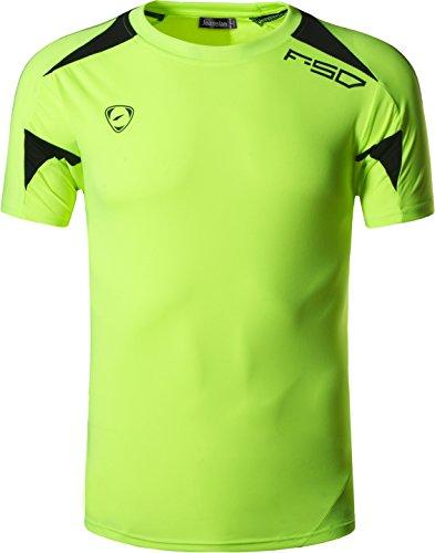 jeansian Herren Sportswear Quick Dry Short Sleeve Men's Tee T-Shirt Tops Tshirt LSL3209_GreenYellow_XL