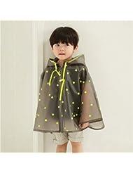 Translúcida Niño de escuela primaria Niño Niña Bebé estudiantes al aire libre poncho impermeable con una chaqueta impermeable del bolso ( Color : # 3 , Tamaño : S )