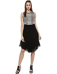 Taurus Women's Georgette Black Checkered Dress