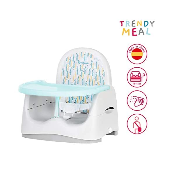 Badabulle Trendy Feeding Booster Seat Badabulle Universal: the trendy feeding booster seat fits all types of chair (dining chair, garden chair, etc.) it is easy to secure with its straps, and raises your child by 10 to 14 cm (3 positions) Comfortable: the wide, ergonomic wraparound seat ensures maximum comfort for your child, from 6 to 24/36 months (up to 15 kg) Large meal tray: depth-adjustable (two positions, to adapt as your child grows). the tray is detachable and can be stored behind the backrest 1