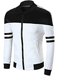 BUSIM Men's Long Sleeve Sweater Tops Patchwork Color Baseball Jersey Zip Sweater Jacket Shirt Slim Fashion Round...