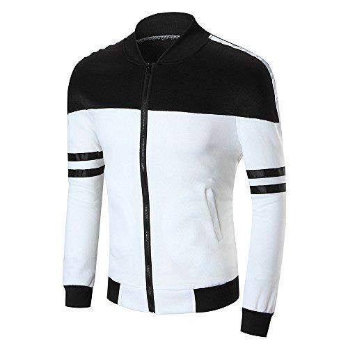 Xmiral Herren Jacke Mantel Langarm-Patchwork-Taschen-Bluse Slim Tops Outwear (3XL,Weiß)