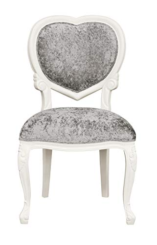 Louis XV Medee - French Heart Chair - White with crushed silver velvet - LXv097