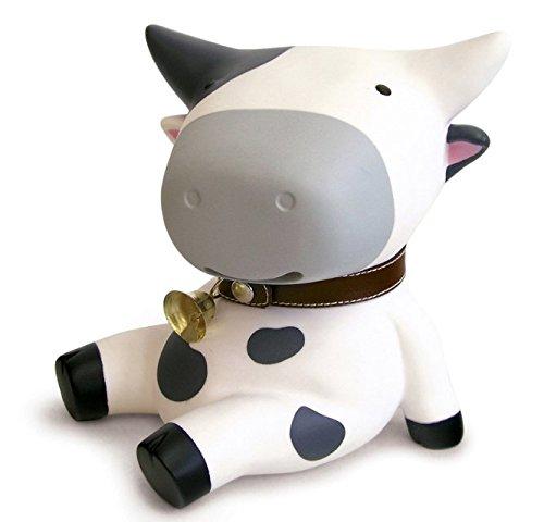 Bellecita Juguete de Plástico Creativo Vaca Hucha Decoración de Dibujos Animados para Niños Caja de Dinero (Blanco)
