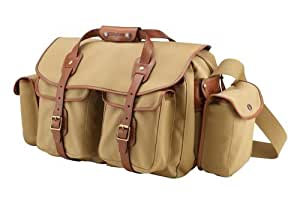 Billingham 550 Khaki Canvas Camera Bag with Tan Leather Trim