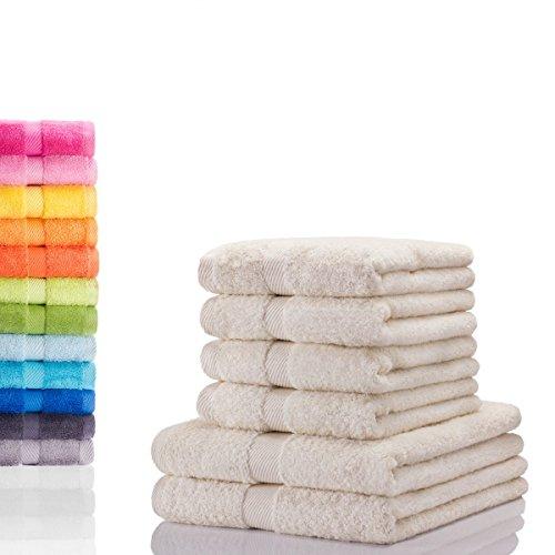 Etérea Carli 6 tlg. Handtuchset, 4x Handtücher, 2x Duschtücher - Nature Qualitäts Frottierware 500 g/m² 100% Baumwolle