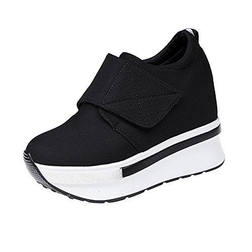 en Mode Laufschuhe Freizeit Leder Freizeitschuhe Sportschuhe mit Reißverschluss... (EU:34, Schwarz - D) ()
