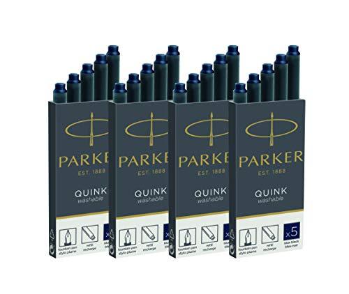Parker 1950384 Quink Ink - Cartuchos (20 unidades, 4 x 5)