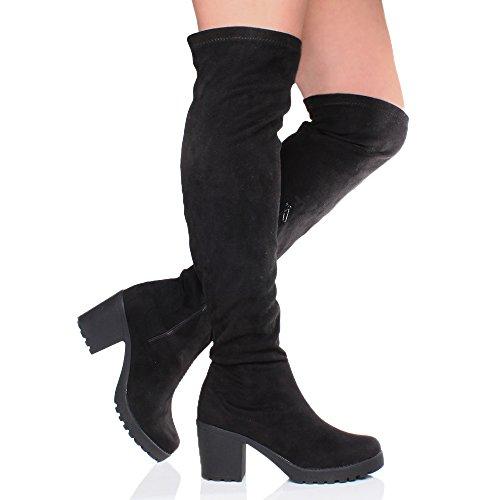 Femmes talon moyen élastique plate-forme bottes sur le genou cuissardes pointure Noir