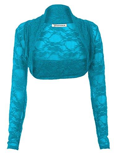 Janisramone Frauen Langarm Spitzen Achselzucken Bolero Strickjacke zugeschnittene top Blaugrün