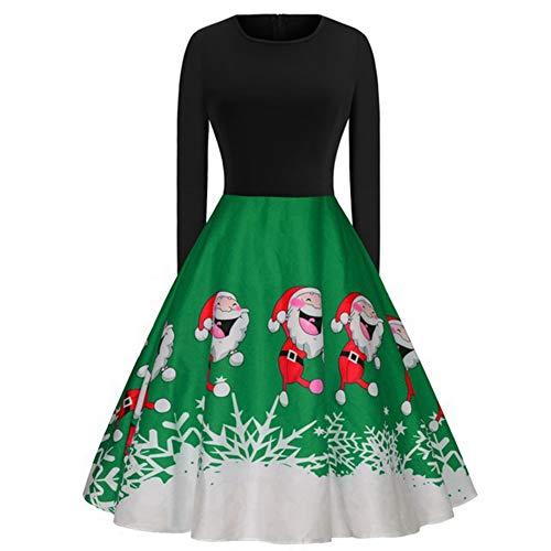 HS-ZHAOPAN Weihnachtsfeiertags-Kostüm Round Neck Langarm Schwarz Oberkörper Stitching Weihnachtsmann Bedrucktes - 1950's Stil Kostüm