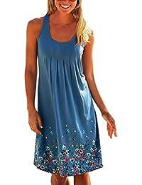 Yidarton Vestido Sin Mangas De Las Mujeres De Cuello Redondo Suelta Vestido De Impresión Verano (S, Azul)