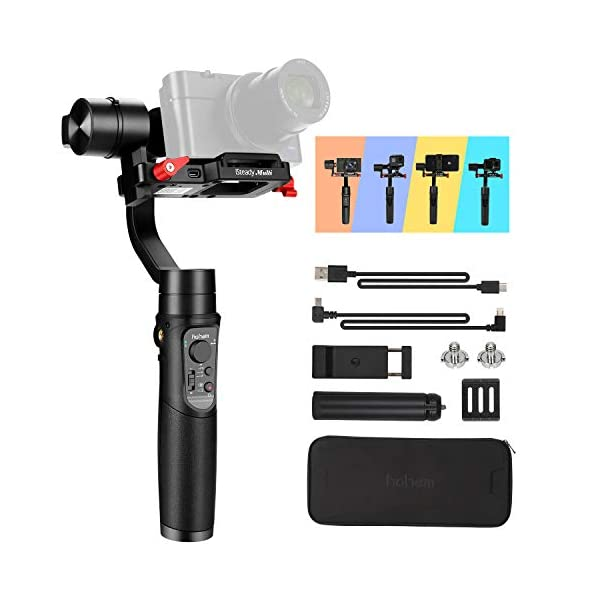 Hohem Digital Camera Gimbal Stabilizer Handheld Gimble for Sony RX100, for Canon PowerShot, for Panasonic Lumix, Action Cameras and Smartphones, Playload 400g, 3-in-1 Gimball (hohem iSteady Multi) 1