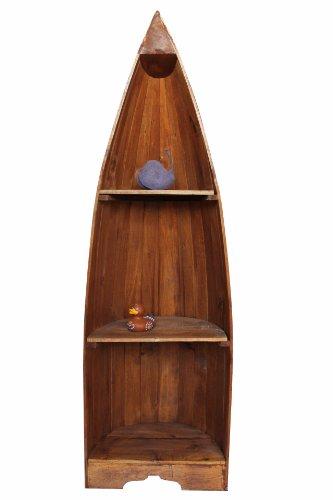 Naturesco Exotisches Regal Boot Bootsregal Bootsform braun Hellbraun massiv Holz 145cm