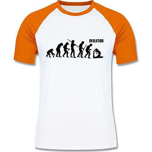Shirtracer Evolution - Yoga Evolution - Herren Baseball Shirt Weiß/Orange