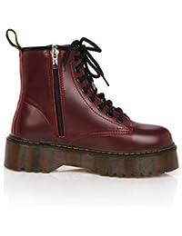 Mujeres Plataformas CuñAs Botines Motos Cordones De Cuero Oxford Tacones Altos SeñOras Zapatos Casuales
