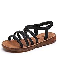 WL Las Mujeres Sandalias Planas, Cruz Correa Peep Toe Banda Elástica Playa De Bohemia Roma Aire Libre Chancletas De Zapatos Zapatos De La Playa,Negro,39