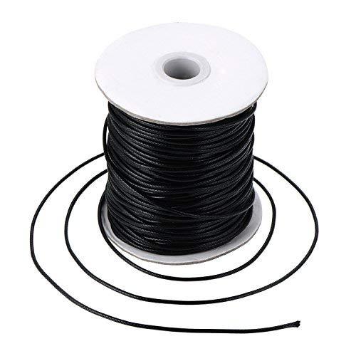 Cordon de Ciré Cordons en Cuir Imitation Cordon de Collier Tressé, Noir(80 Mètres, 2 mm de Diamètre)