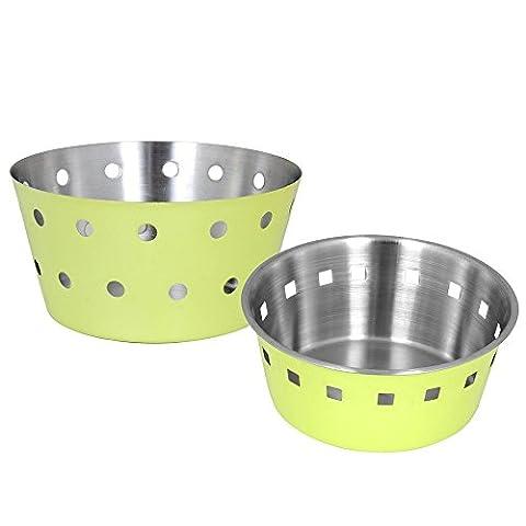 Kosma Set aus 2 Stück Edelstahl Brotkörbe | Fruit Bowl Geschirr Serveware in einer brillanten Limone grüne Farbe Outsisde und Matt Finish Inside- 18cm, 21cm
