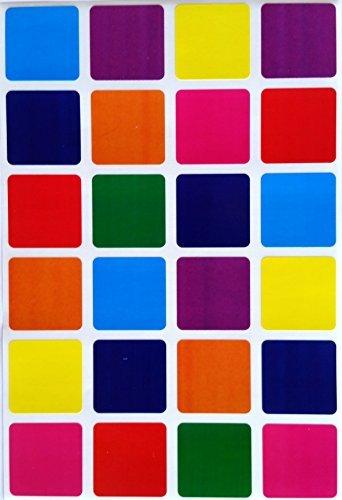 Cuadrado codificación de Color etiquetas, 1) por 1Inch -- Valor Pack varios colores codificación pegatinas 8colores, azul, azul, rojo, morado, verde, naranja, rosa y amarillo -- cuadrado etiquetas Multi Pack -- Classic colores Semi brillante