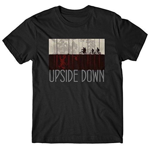 Lamaglieria t-shirt uomo upside down grey print - maglietta stranger things serie tv cult 100% cotone, xl, nero