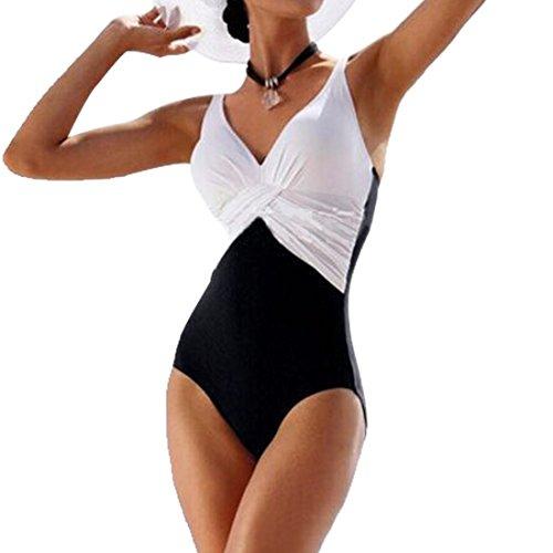 GWELL Frauen Vintage Elegant Plus Size Einteiler Push up V-Schnitt Badeanzug Schwimmanzug Mehrfärbig Bademode weiß 3XL