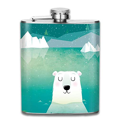 Bikofhd Polar Bear Daydream Stainless Steel Flask Personalized Flask Whiskey Vodka Alcohol Hip Flask for Men Travel Climbing Fishing Camping,7OZ -