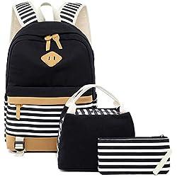 "Netchain Mochila de Lona a Rayas Cabe 15.6"" Laptop Bolsas Escolares para niñas Adolescentes Daypacks Casuales con Puerto de Carga USB, 1 Monedero del Bolso, 1 Bolsa de Almuerzo Pack de 3 (Negro)"