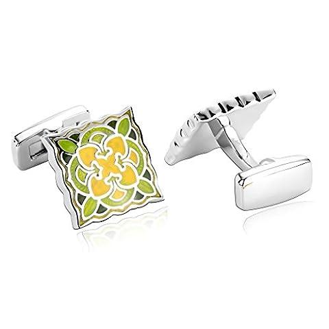AMDXD Jewelry Stainless Steel Men Cufflinks Yellow Green Decorative Flower Pattern Square Cuff Links