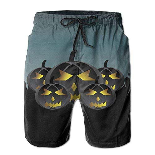 WITHY Beach Yoga Pants, Halloween Pumpkin Miami Cute Shorts for Men Boys, Outdoor Short Pants Beach Accessories,(XL)