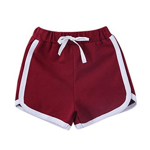 Dog Halloween Kostüm Lederhosen - feiXIANG Jungen Mädchen Shorts elastische beiläufige Hosen Kleidung für Kinder Mode Schlafanzug Sport Unterwäsche(Wein,120)