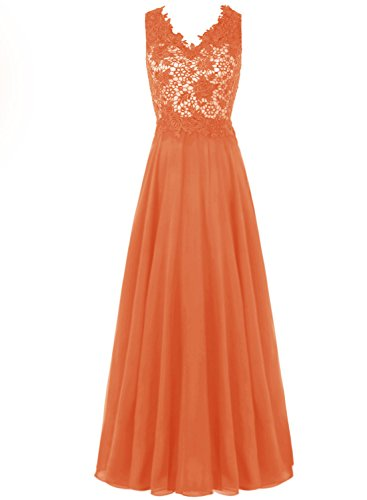 Bbonlinedress Robe de cérémonie forme empire col en V longueur ras du sol Orange