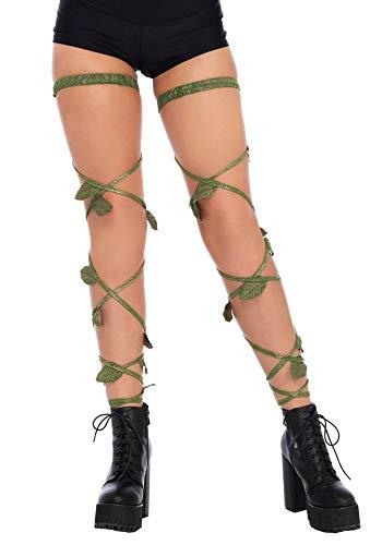 shoperama Bein-Schmuck Blätter-Ranken Grün/Gold mit Strumpfband von Leg Avenue Poison Ivy Wald Elfe Fee Mutter Natur Efeu Blatt (Ivy Poison Kostüme Kostüm)
