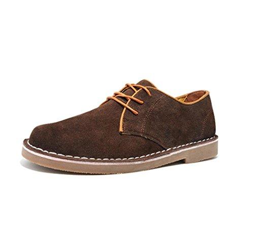 Heart&M pelle scamosciata di maschile casual punta tonda glassato scarpe skater coffee