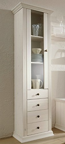 clever-moebel Armoire vitrine en pin laqué Blanc