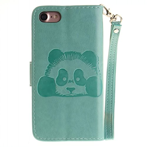 iPhone 7 Case, Augus tcoco Embossed Panda Pattern PU Leather Flip Folio Kickstand Wallet Case with Card Slots and Wrist Strap for iPhone 7 verde