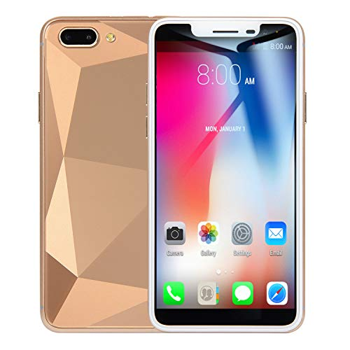 NeoMan SIM-Free Mobile Phones, Unlocked Android GO 3G Beatiful Smartphone with 5.0 Inch HD IPS Display, 2650mAh battery,Dual SIM Dual Cameras Cellphone (R17-Gold)